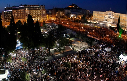 Protesters gather during a rally against a new austerity package at Syntagma square in Athens