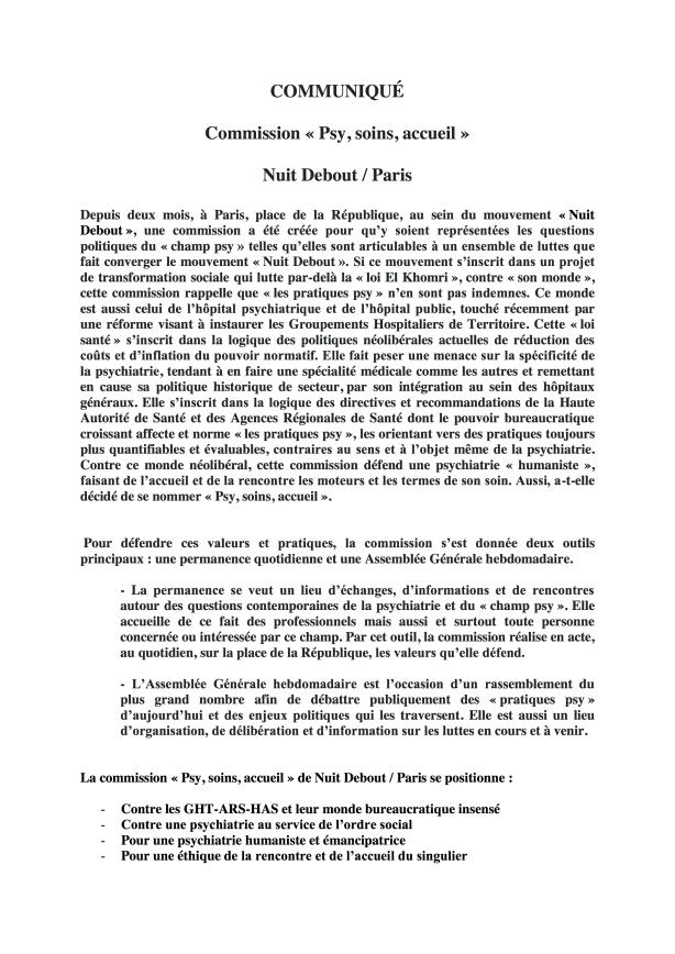 COMMUNIQUÉ COMMISSION PSY SOINS ACCEUIL